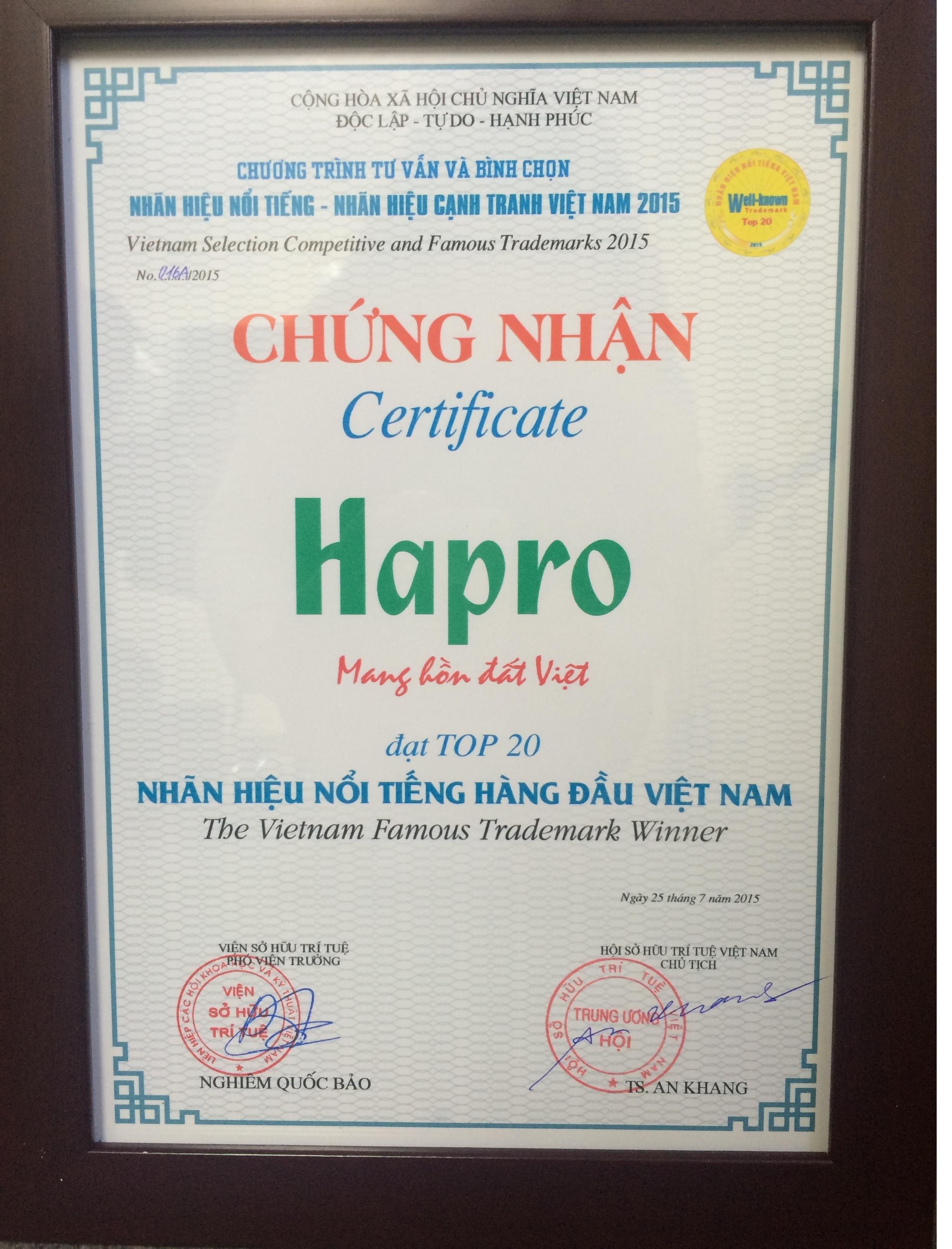 """Nhãn hiệu Hapro lần thứ 3 nhận Chứng nhận """"Nhãn hiệu Nổi tiếng Việt Nam"""""""