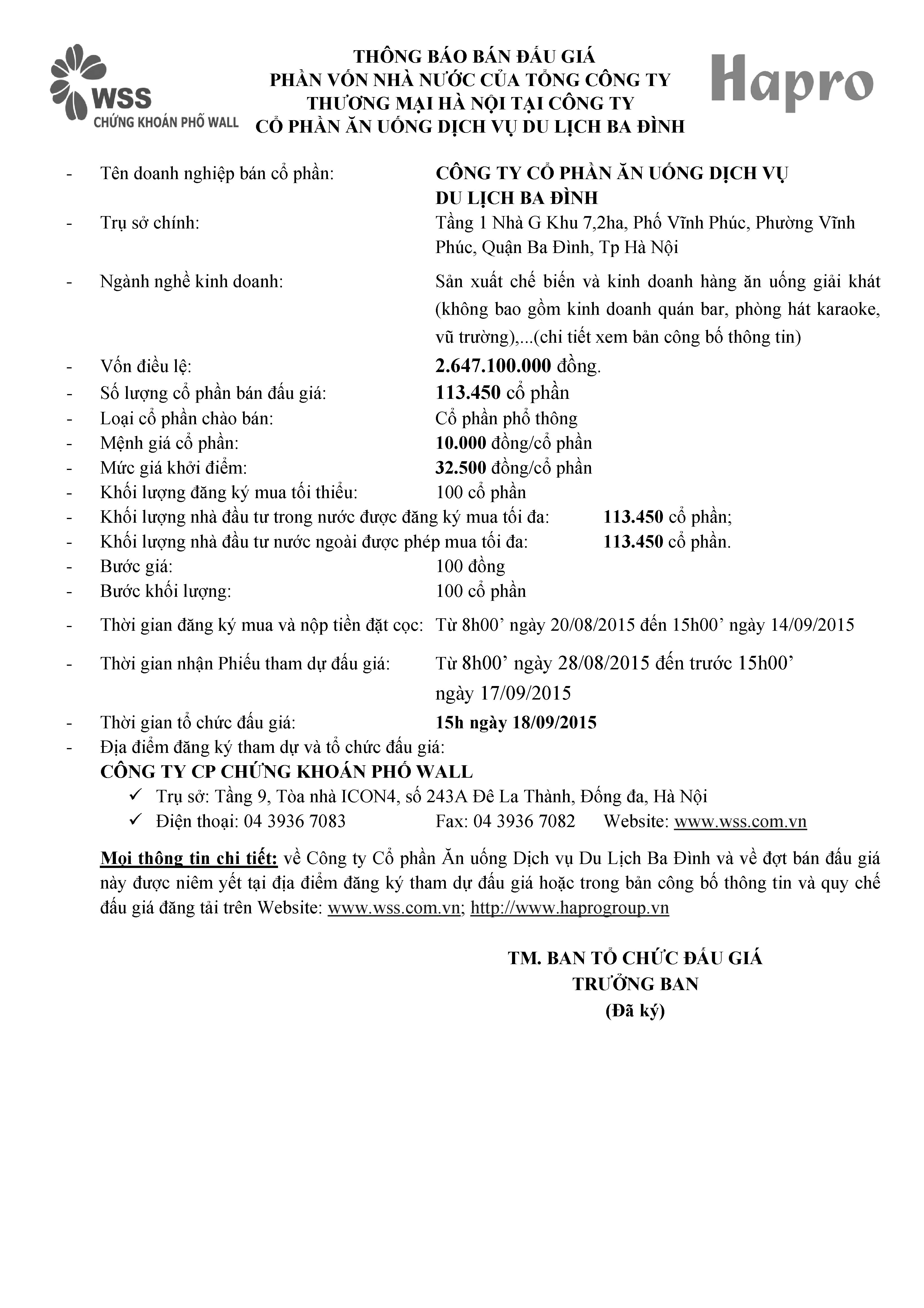 Thông báo bán đấu giá cổ phần vốn nhà nước của TCT Thương mại Hà Nội tại Công ty CP ăn uống dịch vụ Du lịch Hà Nội